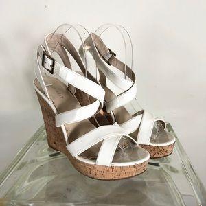 Nine West white Vegan strappy Wedge sandals 8.5